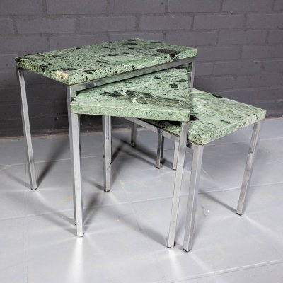 Set of three nesting tables with green marble, 1970s
