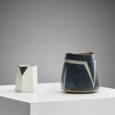 Sculptural Porcelain Pitcher & Stoneware Vase by Bodil Manz, Denmark late 20th century