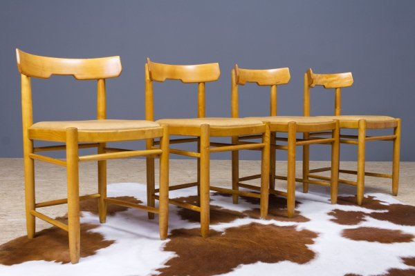 Set of 4 dining room chairs in beech & leather, Sweden 1940s