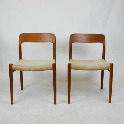Pair of Danish Teak Dining Chairs Mod. 75 by Niels O. Moller