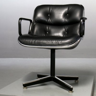 7 x Black leather Executive Chair by Charles Pollock for Knoll, 1980s