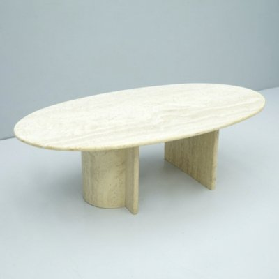 Oval Travertine Coffee Table, Italy 1970s