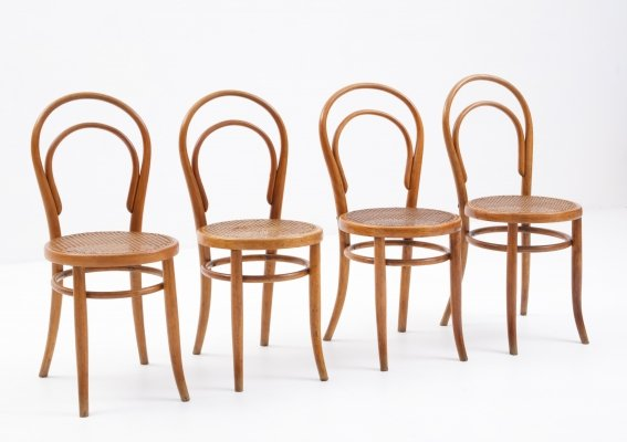 Set of 4 bentwood chairs by Fischel, 1920s