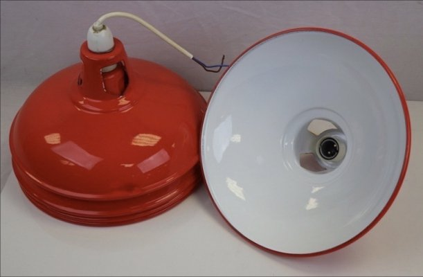 Red enamel industrial ceiling light shades, 1950s