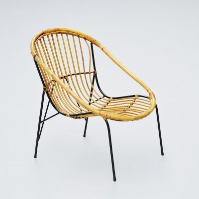 French sculptural rattan lounge chair, France 1950