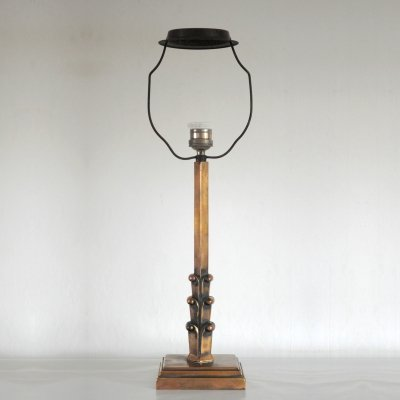 Patinated Danish Art Deco Brass Table Lamp, 1930s