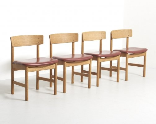 Set of 4 Dining Chairs Model 3236 by Børge Mogensen for Fredericia Stølefabrik, 1950s