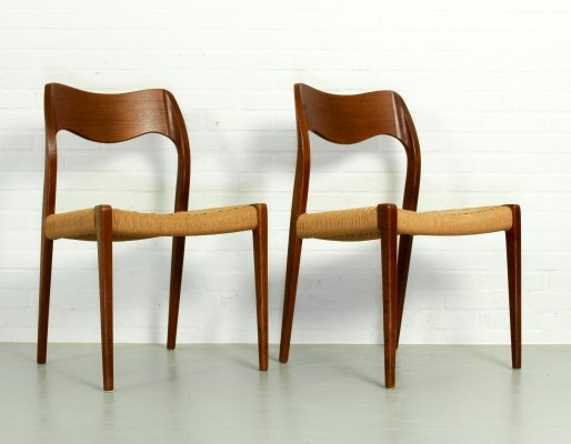 Pair of Teak Model 71 Dining Chairs by Niels Otto Møller for J.L. Møllers, 1950s