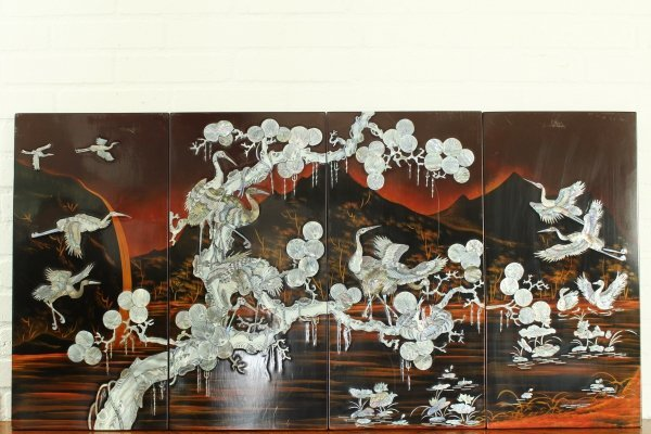 Oriental/Vietnamese mid century wall art panels made of Mother of Pearl