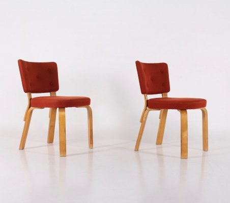 Pair of red fabric & plywood chairs by Alvar Aalto, Finland 1940's