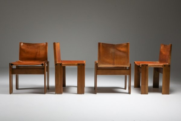 Set of 6 Cognac Leather 'Monk' Dining Chairs by Afra & Tobia Scarpa, 1970's