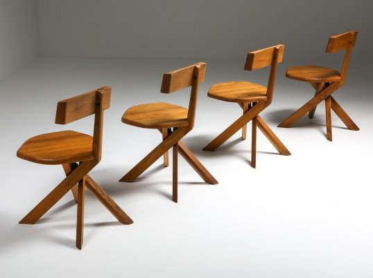 Chapo 'S34' Dining Chairs in Solid Elm, 1960's