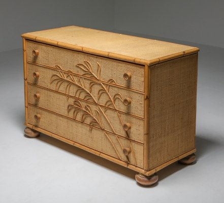 Vivai del Sud Bamboo Chest of Drawers, Italy 1970's