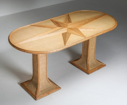 Rattan & Bamboo Table by Vivai del Sud, 1970's