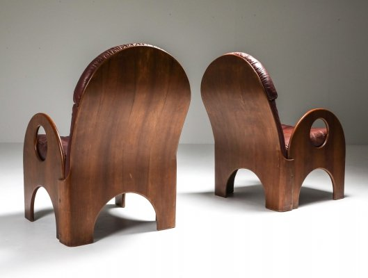 Gae Aulenti Pair of 'Arcata' Easy Chairs in Walnut & Burgundy Leather, 1968