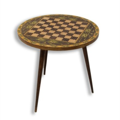 Vintage round side table with chess pattern, Albania 1970's