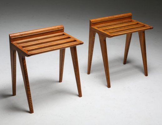 Gio Ponti Suitcase Holders in Oak & Brass, 1970s