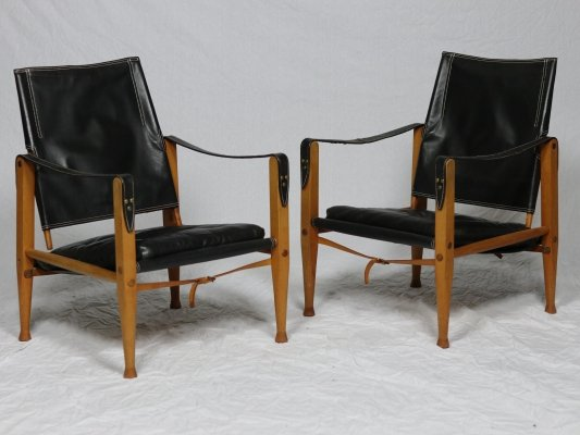 Set of 2 leather Kaare Klint Safari Chairs with cushions