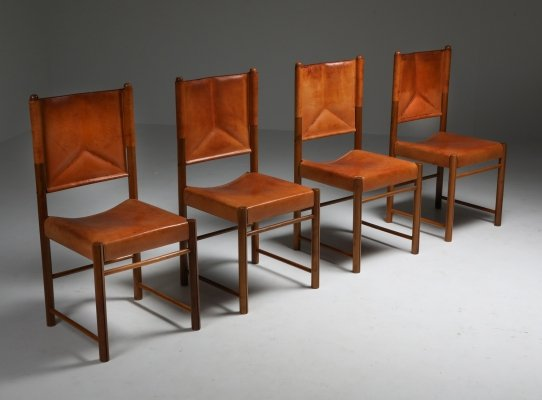 Cognac Leather Dining Chairs, Italy 1960's