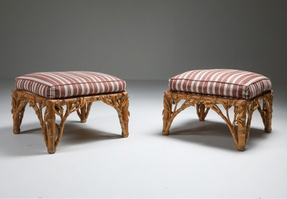 Bamboo pair of ottomans by Arpex, Italy 1970s