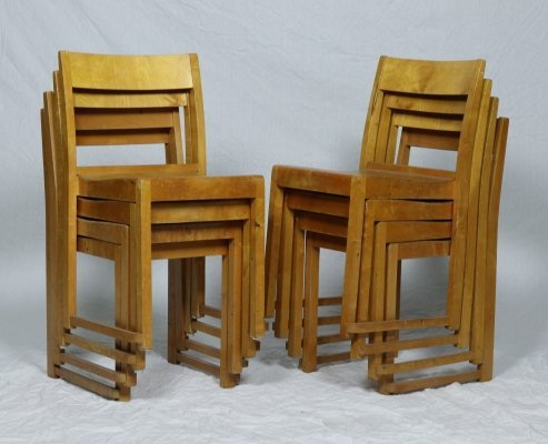 Set of 8 orkesterstol dining chairs by Sven Markelius, 1930s