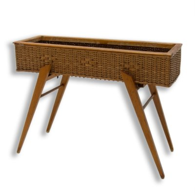 Mid century wicker & beech plant stand, Central Europe 1960s