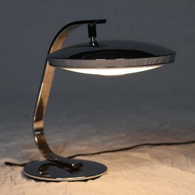 Full chrome Desk Lamp 520C by Fase Madrid, 1960s