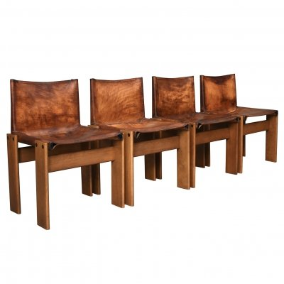 Set of 4 monk chairs by Afra & Tobia Scarpa for Molteni, Italy 1974