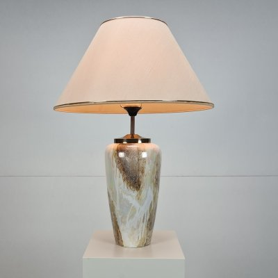 Regency porcelain & brass pearl colored table lamp, 1980s