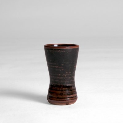 'Clessidra' little vase with black & brown glaze