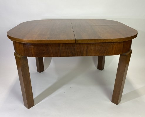 Art deco burr walnut dining table, 1930s