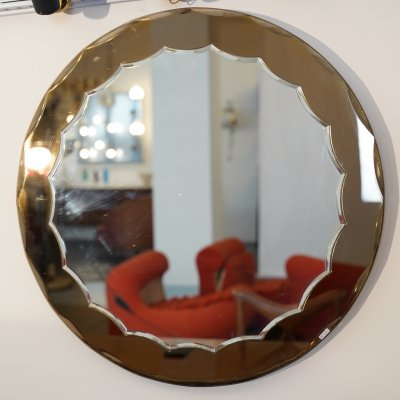 Italian vintage bronze mirror by Cristal Art, 1960s