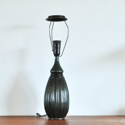 Large Drop Shaped Just Andersen Disko Metal Table Lamp, Denmark 1930s