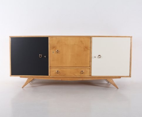 Ash modernist sideboard with compass feet, 1950's