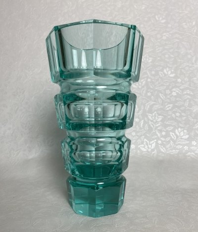 Huge art deco turquoise vase by Josef Hoffmann for Moser