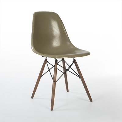 Raw Umber Herman Miller Original Vintage Eames DSW Dining Side Chair