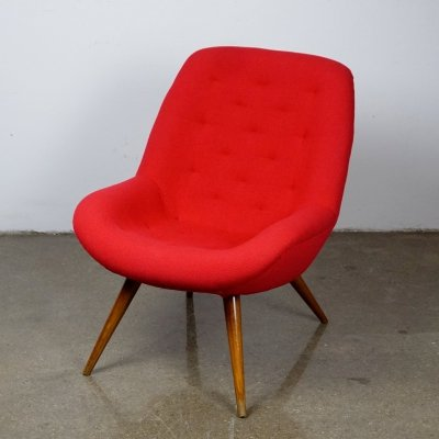 Vintage Midcentury Red Fabric Cocktail Armchair