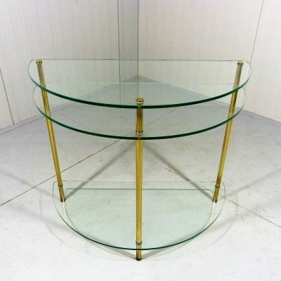 Glass & brass side table / hall table, 1970's