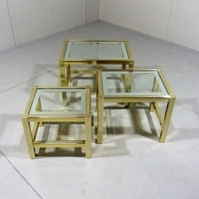 Italian nesting tables in brass & glass, 1970's