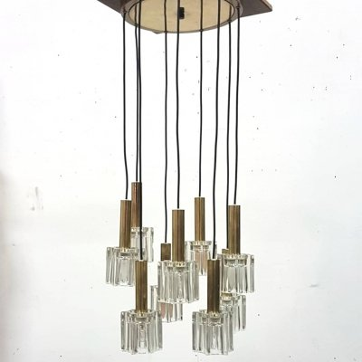 Brass & glass pendant lamp with 9 shades, Germany 1960s