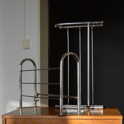 Set of 2 Bauhaus tubular chrome coat racks, 1940's