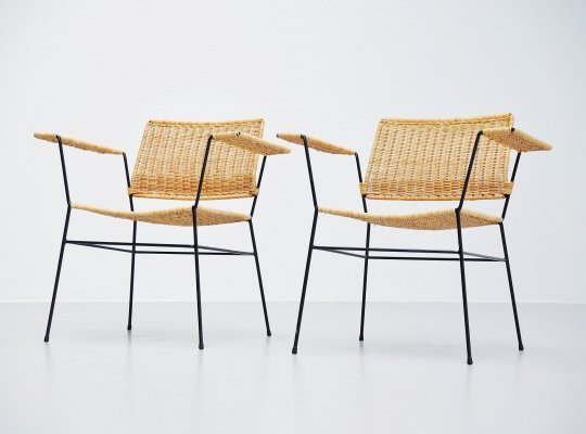 Pair of Herta Maria Witzemann cane armchairs, Germany 1954