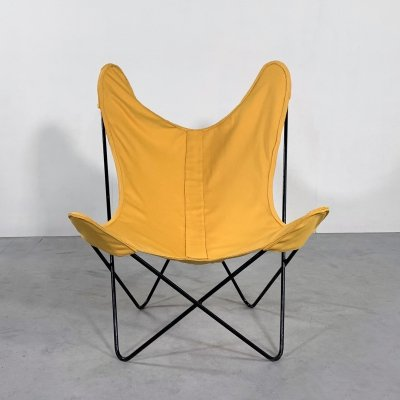 Yellow Butterfly lounge chair by Jorge Ferrari Hardoy for Knoll, 1970s