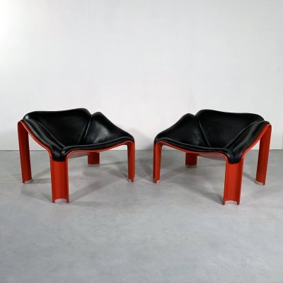 F300 Lounge Chairs in Leather by Pierre Paulin for Artifort, 1960s
