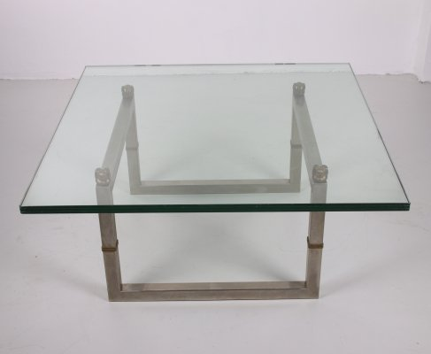 Peter Ghyczy 'Biri T29' glass coffee table with stainless steel frame, 1980s