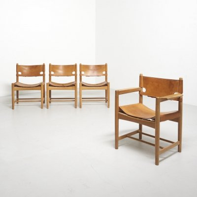 Set of 4 'Hunting' Chairs by Børge Mogensen for Fredericia Stølefabrik, 1951