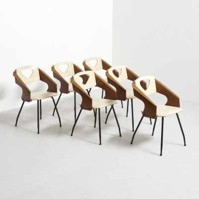 Set of Dining Chairs by Carlo Ratti for Industrial Legni Curva, Italy 1950's
