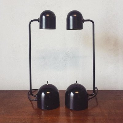 Pair of 70s lampshades with double intensity button