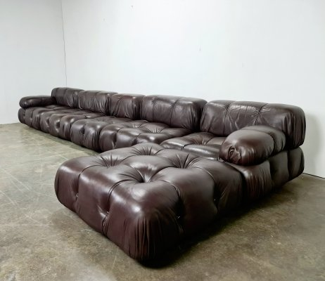 Original brown leather Camaleonda sofa by Mario Bellini for B&B Italia, 1970s