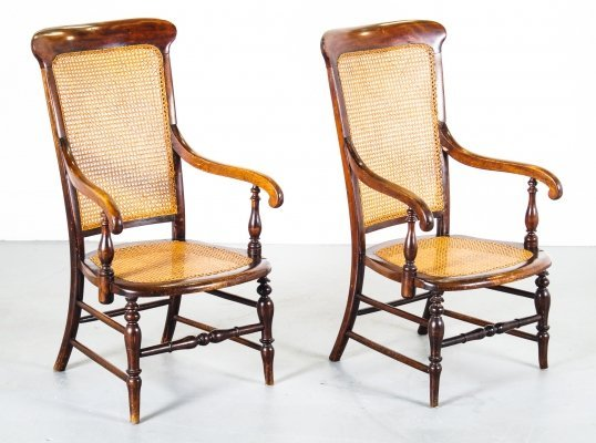 Mahogany based vintage rattan arm-rest chairs, 1940s